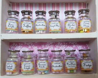 SWEET SHOP Glass Jars / LABELS Traditional Candy 1:12th Scale Dolls House UH14 • 7.49£