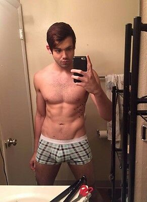 $ CDN4 • Buy Shirtless Male Muscular Dude Hairy Chest Checkered Boxer Briefs PHOTO 4X6 C1222