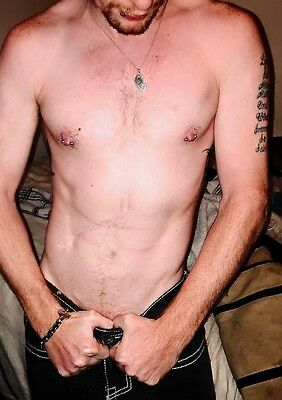 $ CDN4 • Buy Shirtless Male Hairy Pierced Nipples Tattoos Bare Chest Dude PHOTO 4X6 C508
