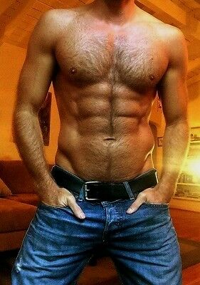 $ CDN4.33 • Buy Shirtless Male Beefcake Muscular Hairy Chest Abs Arms Dude Close PHOTO 4X6 C275