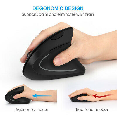 AU19.66 • Buy Wireless Vertical Ergonomic Working USB Optical Mouse 1600 DPI 6 Buttons For PC