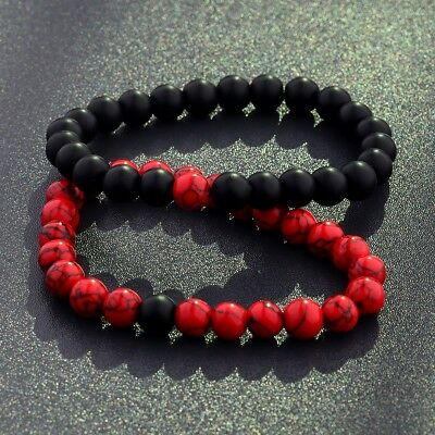 $4.99 • Buy His & Hers Black Red Lava Bead Distance Healing Matching YinYang Couple Bracelet
