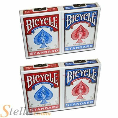 4 X Bicycle Standard Deck Playing Cards - 2 Red & 2 Blue Decks • 9.15£