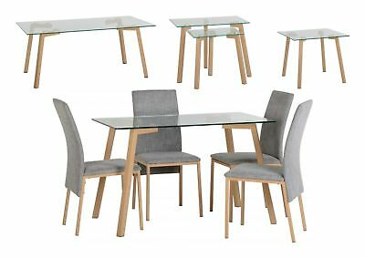 Seconique Morton Tables Clear Glass/Oak Veneer - Dining Set, Coffee, Lamp, Nest • 212.95£