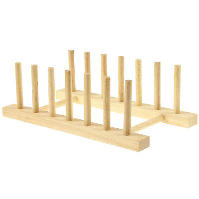 £5.50 • Buy Wooden Kitchen Plates Cups Dish Stand Display Drying Dryer Holder Storage Rack