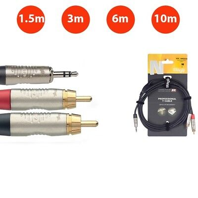 Stagg Professional Cable Stereo Mini 3.5mm Jack To 2x RCA Phono Twin Lead • 11.95£