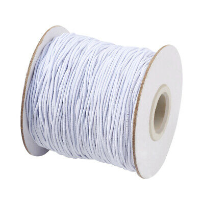$ CDN12.07 • Buy 1Roll White Round Elastic Cord With Nylon Outside Rubber Inside 1mm About 100m