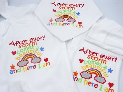 Personalised Embroidered AFTER EVERY STORM COMES A RAINBOW Unisex Baby Clothing • 8.95£