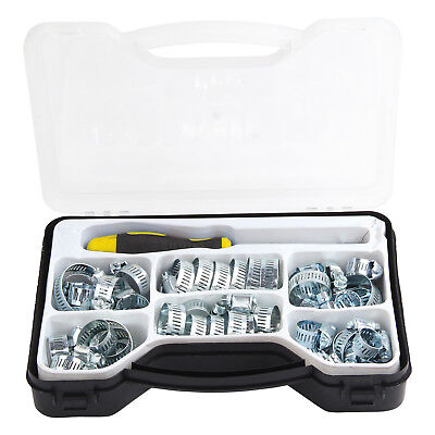 £9.89 • Buy 51pc Assorted Hose Clamp Set Clamps Jubilee Clip Type Clips Inc Driver Tool