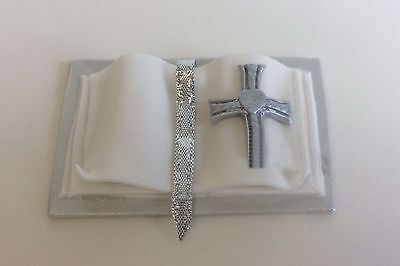 HANDMADE Bible Cake Topper - SILVER And White • 9£