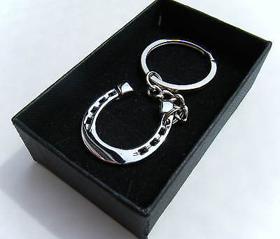 Lucky Metal Horseshoe Keyring Chrome Finish Key Chain Gift Boxed BRAND NEW • 4.75£