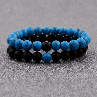 $7.99 • Buy His & Hers Distance Energy Couple Bracelet Black Lava Blue Bead Matching YinYang