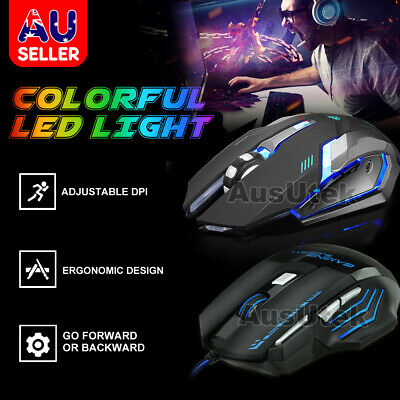 AU17.95 • Buy LED Wired / Wireless Rechargeable USB Optical Ergonomic Gaming Mouse Laptop PC