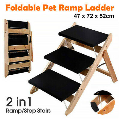AU61.98 • Buy 3 Steps Foldable Pet Dog Cat Ramp Portable 2-in-1 Stairs Ladder Cover Ozstock