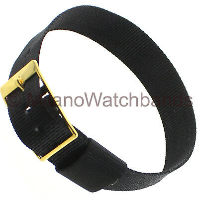14mm Milano Ladies Sport Strap Wrap Thin Nylon Buckle Black Watch Band • 8.68£