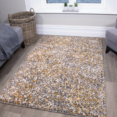 Thick Mustard Rug Speckled Ochre Shaggy Runners Rugs Non Shed Living Room Mats • 22.95£