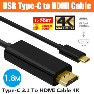 AU10.98 • Buy USB Type C To HDMI Cable USB 3.1 To HDMI 4K Cord For Samsung S8 S8+ S9 Note 8