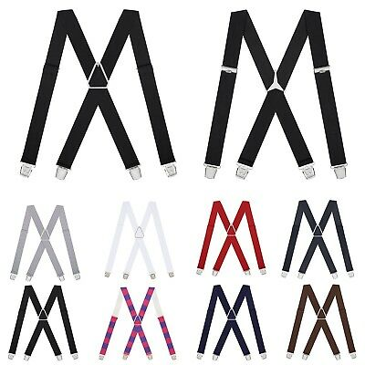 $6.99 • Buy Mens X-Back Clip On Suspenders Tall Solid Color Wedding Formal Suit Tuxedo