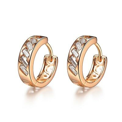 AU9.99 • Buy 18k Yellow Gold Gf Huggies Made With Swarovski Crystal Filigree Earrings Cute