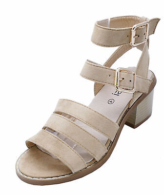 £9.99 • Buy Ladies Beige Gladiator Peep-toe Strappy Summer Sandals Shoes Boots Sizes 3-8