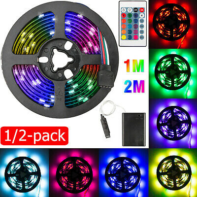 $11.97 • Buy 3.3/6.6ft 5050SMD RGB LED Strip Light Backlight 24 Key Remote For Car Bike Party