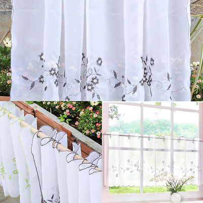 £6.86 • Buy Eyelet Half Curtain Embroidered Window Tier Sheer Voile For Cafe Kitchen