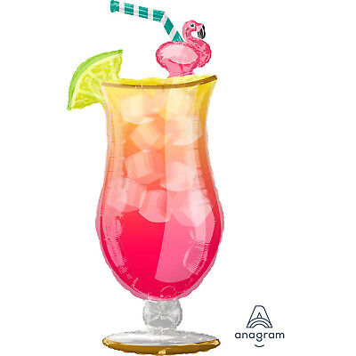 Large Hawaiian Tropical Coctail Drink Glass Foil Balloon Luau Party Decoration • 5.50£