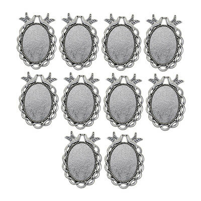 10x Oval Blank Bezel Cameo Cabochon Pendant Setting Blanks Jewelry Findings • 3.72£