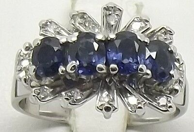 AU1074 • Buy 9ct White Gold Natural Diamond & Sapphire Engagement/dress Ring Size M-val $2830