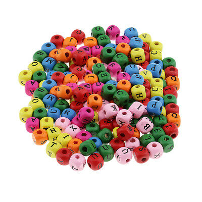 £4.82 • Buy 200pcs Mini Wooden Alphabet Letters Cube Beads Charms Jewelry Findings 10mm