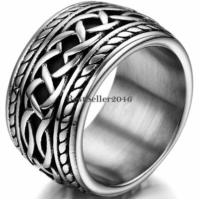 $9.99 • Buy 14MM Wide Mens Stainless Steel Celtic Infinity Knot Ring Biker Band Size 7-11