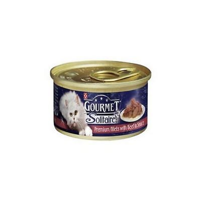 Gourmet Solitaire Cat Food With Beef  Tin (85g) (Pack Of 4) • 6.35£