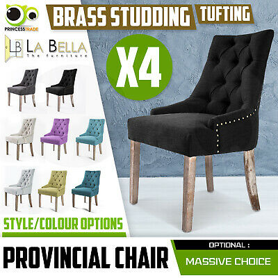 AU489 • Buy 4 X Dining Chair French Provincial Brass Studded Fabric Oak Legs Cafe AMOUR