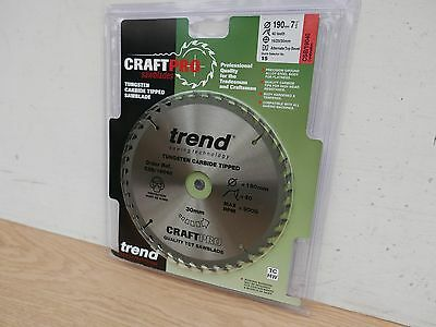 £12.85 • Buy Trend 190mm 40t X 16/20/30mm Bore Tct Circular Saw Blade Csb/19040 + Washers