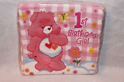 New  In Package Care Bears Dessert Napkins  Pink Party Supplies   • 4.87£
