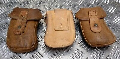 Genuine Vintage Military Issued Brown/Tan Leather Ammo Small Pouch Used • 11.99£