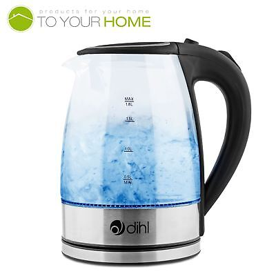 View Details Dihl Blue LED Glass Kettle Illuminating Cordless Electric Jug Filter 1800W 1.8L • 14.99£