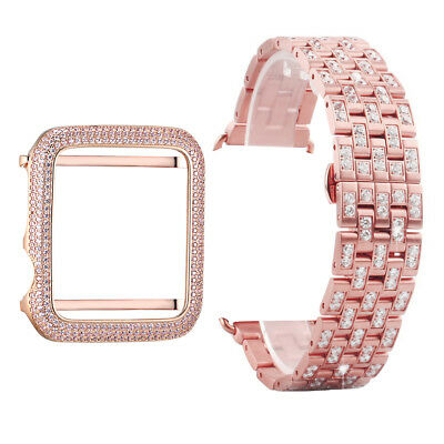 $ CDN81.63 • Buy Apple Series 1 Watch Bezel 925 Silver Rose Gold Finish Pink Band Sale