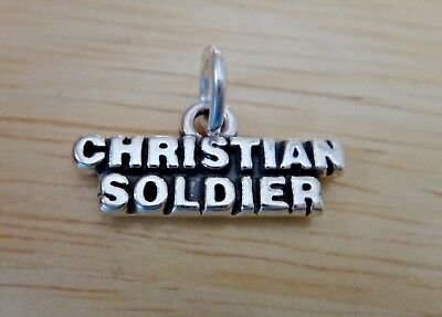 £12.94 • Buy 20x10mm Says Christian Soldier Sterling Silver Charm!