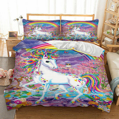 AU36.83 • Buy Unicorn Rainbow Duvet Quilt Doona Cover Set Single Double Queen King Size Bed