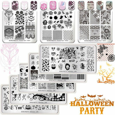 $0.70 • Buy BORN PRETTY Nail Art Stamping Plates Halloween Trick Or Treat Lace Templates DIY