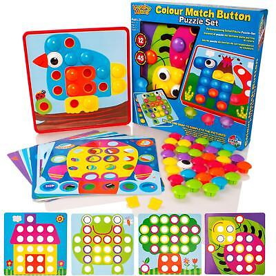 £8.99 • Buy Childrens Colour Matching Picture Making Button Art Set Mosaic Puzzle Pegboard