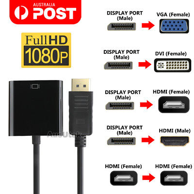 AU8.45 • Buy Displayport Display Port DP Male To VGA DVI HDMI Female Converter Adapter Cable