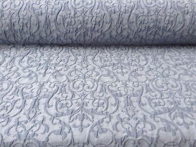 French Vintage Bliss Raised Damask Blue Grey Linen 140 Wide Curtain Fabric  • 25.50£