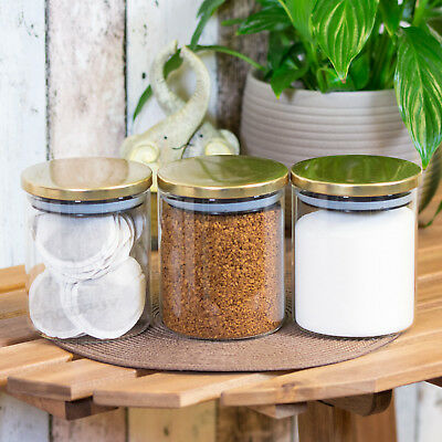 Set Of 3 Gold Small Glass Storage Jars With Lids Tea Coffee Sugar Canisters 12cm • 18.99£
