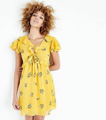Ex New Look Yellow Floral Trim Summer Party Casual Tea Dress UK 6-18 • 4.99£