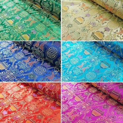 Brocade Fabric Chinese Traditional Style Embroidered Silky Satin 90cm Wide • 6.20£