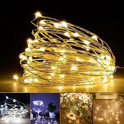 AU7.99 • Buy 2-10 M Battery Powered LED Copper Wire String Fairy Xmas Party Lights Warm White