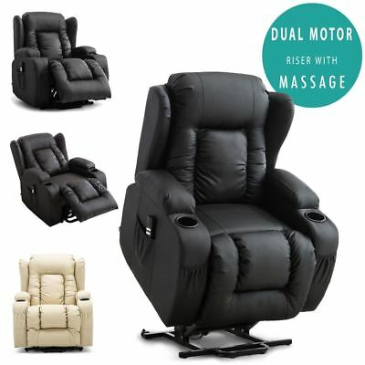 £499.99 • Buy Caesar Dual Motor Riser Recliner Leather Mobility Armchair Massage Heated Chair