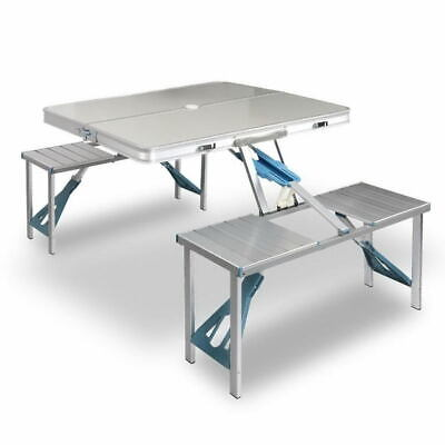 AU69.95 • Buy Aluminium Folding Camping Table With 2X Bench Chairs Picnic Set